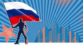 Fundo de Rússia do portador de bandeira ilustração stock