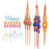 Fundo de Raksha Bandhan com rakhi e presente Fotos de Stock Royalty Free
