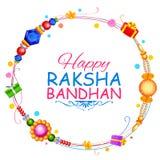 Fundo de Raksha Bandhan com rakhi e presente Imagens de Stock