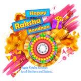 Fundo de Raksha Bandhan com rakhi e presente Imagem de Stock