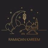 Fundo de Ramadan Kareem com lua, lanterna, mesquita nas nuvens Imagem de Stock Royalty Free