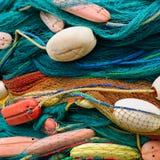 Fundo de redes e de flutuadores de pesca Imagens de Stock