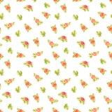 Fundo de repetir rosas alaranjadas do pêssego com o teste padrão luz-colorido bonito azeitona-colorido das folhas isolado no fund ilustração do vetor