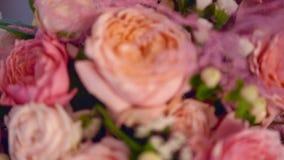 Fundo de rosas cor-de-rosa Ramalhete do desenhista video estoque