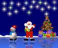 Fundo de Santa e de boneco de neve Fotografia de Stock Royalty Free