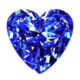 Fundo de Sapphire Heart Cut Over White Foto de Stock Royalty Free