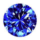 Fundo de Sapphire Round Cut Over White Foto de Stock Royalty Free
