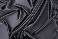 Fundo de seda preto Textura Fotos de Stock Royalty Free