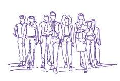 Fundo de Team Moving Forward Over White dos empresários do esboço, grupo de executivos tirados mão ilustração do vetor