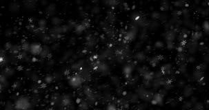 Fundo de tela preto do Natal com neve de queda dos flocos de neve da parte superior, evento do xmas da neve do feriado ilustração do vetor