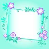 Fundo de turquesa com ornamento floral Imagens de Stock