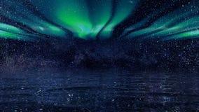 Fundo de um céu noturno futurista contra borealis vídeos de arquivo