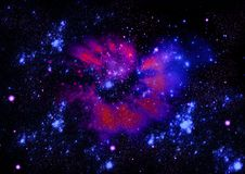 Fundo de uma nebulosa com estrelas azuis Fotos de Stock Royalty Free