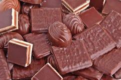 Fundo de vários chocolates. Fotos de Stock