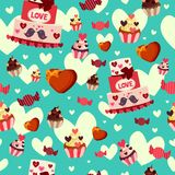 Fundo de Valentine Day Wallpaper Seamless Pattern Imagem de Stock