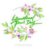 Fundo de Vecto para o dia internacional da paz Texto escrito da mão Olive Branch Foto de Stock Royalty Free