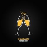 Fundo de vidro do menu do partido do projeto de Champagne Imagem de Stock Royalty Free