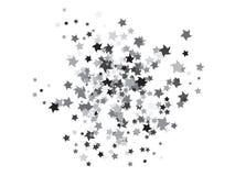 Fundo de voo dos confetes das estrelas da garatuja ilustração royalty free