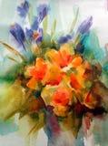 Fundo decorativo colorido brilhante abstrato Teste padrão floral feito a mão Ramalhete romântico macio bonito de flores da íris ilustração stock