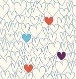 Fundo decorativo da garatuja com corações ilustração do vetor