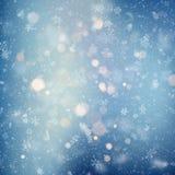 Fundo decorativo do Natal do molde com luzes da neve e do bokeh Fundo mágico do brilho do sumário do feriado com ilustração stock