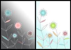 Fundo decorativo do vetor com flores estilizados Imagens de Stock Royalty Free