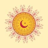 Fundo decorativo islâmico com lua e estrela Imagens de Stock Royalty Free