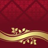 Fundo decorativo vermelho com beira floral dourada. Fotografia de Stock