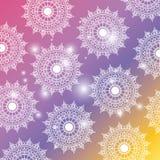 Fundo degradado da cor com a mandala da flor do brilho e do teste padrão decorativa ilustração stock