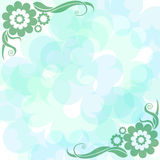 Fundo delicadamente azul com flores ilustração do vetor