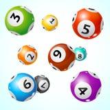 Fundo detalhado realístico do cartão do conceito da bola do loto 3d Vetor Fotografia de Stock Royalty Free
