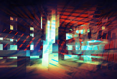 Fundo digital colorido abstrato conceito da Olá!-tecnologia 3d Imagens de Stock