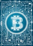 Fundo digital da moeda de Bitcoin Fotos de Stock