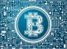 Fundo digital da moeda de Bitcoin Fotografia de Stock Royalty Free