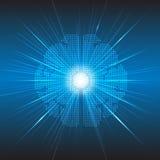 Fundo digital do conceito da tecnologia do cérebro do pixel do vetor Foto de Stock Royalty Free