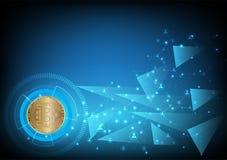Fundo digital do sumário da moeda de Bitcoin para a tecnologia, o negócio e o mercado em linha, ilustração do vetor imagens de stock royalty free