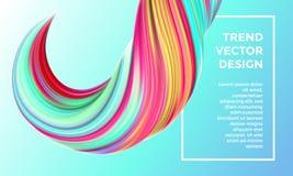 Fundo digital do sumário da pintura do vetor 3d vívidos criativos fluem onda da pintura Fundo azul na moda da pintura do inclinaç ilustração stock
