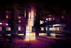 Fundo digital roxo abstrato, 3d ilustração stock