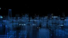 Fundo digital tecnologico que consiste em uma cidade futurista com dados fotos de stock royalty free