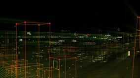 Fundo digital tecnologico que consiste em uma cidade futurista com dados looped ilustração do vetor