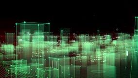Fundo digital tecnologico que consiste em uma cidade futurista com dados looped ilustração royalty free