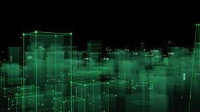 Fundo digital tecnologico que consiste em uma cidade futurista com dados looped ilustração stock