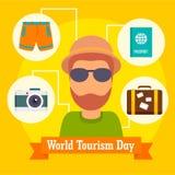 Fundo do ícone do dia de turismo de mundo, estilo liso ilustração stock