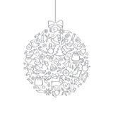 Fundo do ícone do Natal com elementos da decoração da garatuja da bola Inverno feliz ilustração royalty free