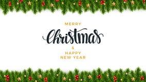 Fundo do abeto do Natal, olhar realístico, projeto do feriado ilustração stock