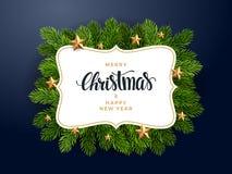 Fundo do abeto do Natal, olhar realístico, projeto do feriado ilustração do vetor