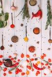 Fundo do alimento Configuração do plano dos temperos fotos de stock
