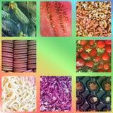 Fundo do alimento Folha da foto collage fotos de stock royalty free