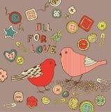 Fundo do amor com pássaros Fotos de Stock Royalty Free