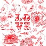 Fundo do amor com pássaros Imagens de Stock Royalty Free